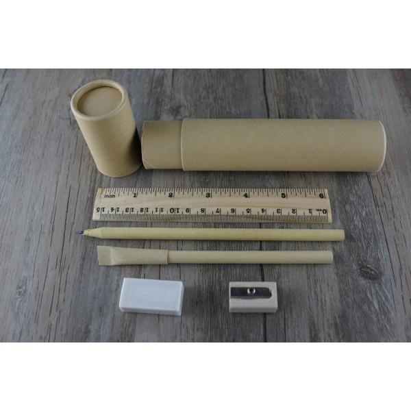 Eco-  Kraft Station Set / 牛皮紙鉛筆,  原子筆 ,木尺 ,  原筆刨 , 擦膠 文具套裝